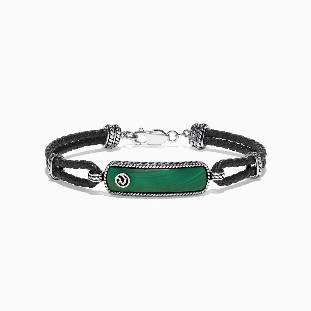 Effy Men's Sterling Silver Malachite Leather Bracelet, 10.50 TCW