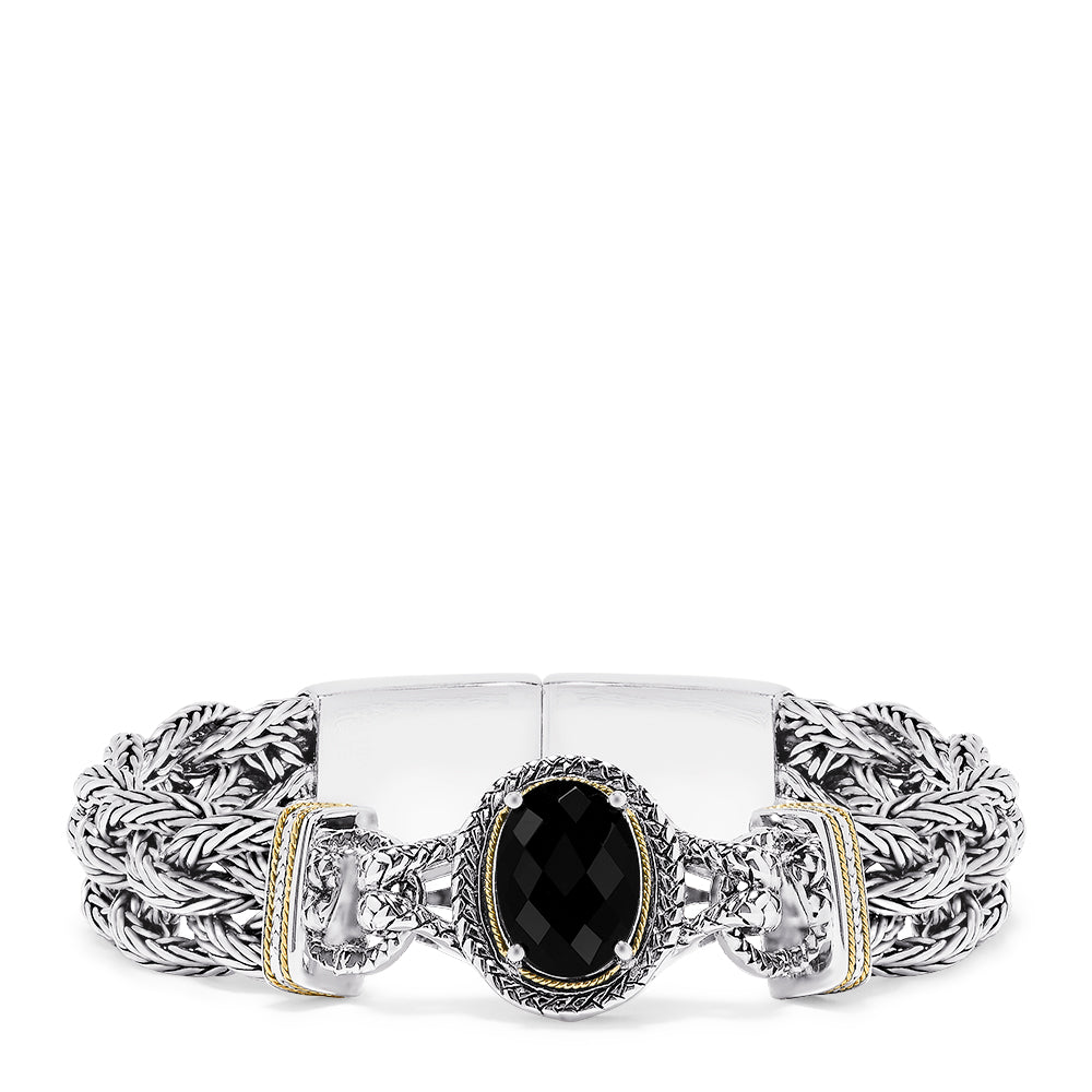 Effy 925 Sterling Silver & 18K Yellow Gold Accented Onyx Bracelet, 6.90 TCW