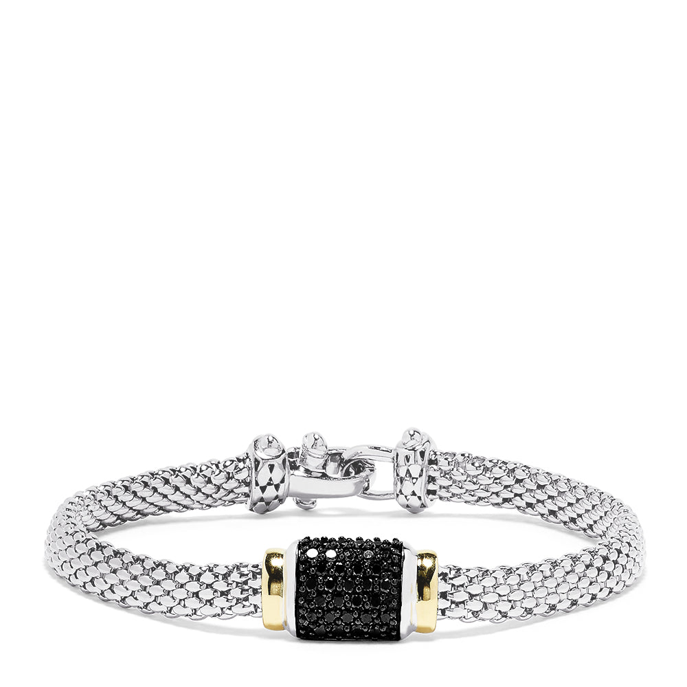 Effy Sterling Silver and 18K Yellow Gold Black Diamond Bracelet, 0.54 TCW
