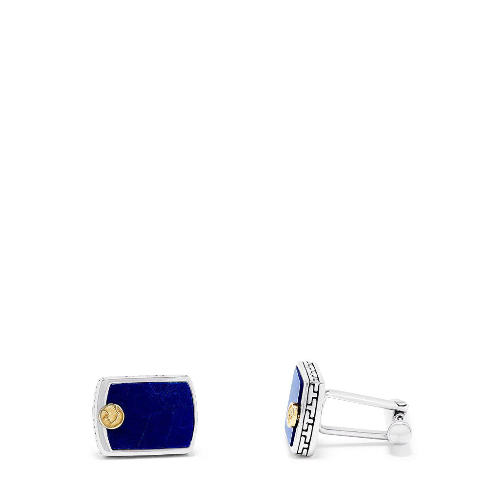 Effy Men's Sterling Silver and 18K Yellow Gold Lapis Cuff Links, 1.10 TCW