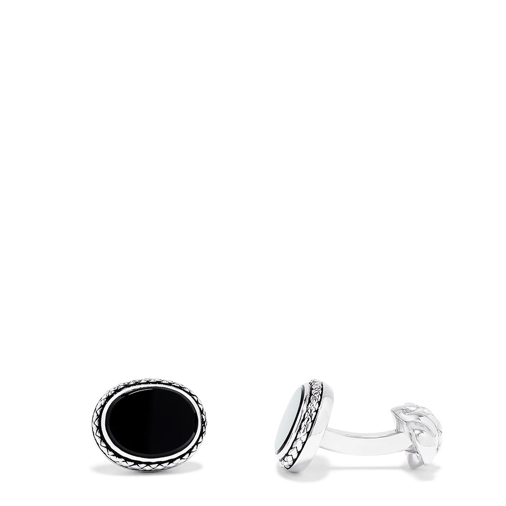 Effy Men's Sterling Silver Oval Onyx Cuff Links, 6.95 TCW
