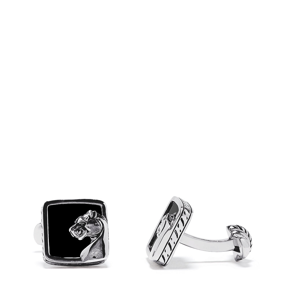 Effy Men's Sterling Silver Onyx Panther Cufflinks, 10.00 TCW