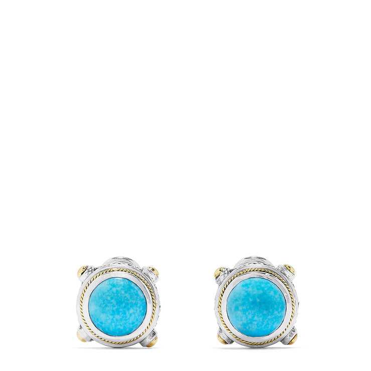 Effy Sterling Silver and 18K Yellow Gold Turquoise Stud Earrings, 8.40 TCW