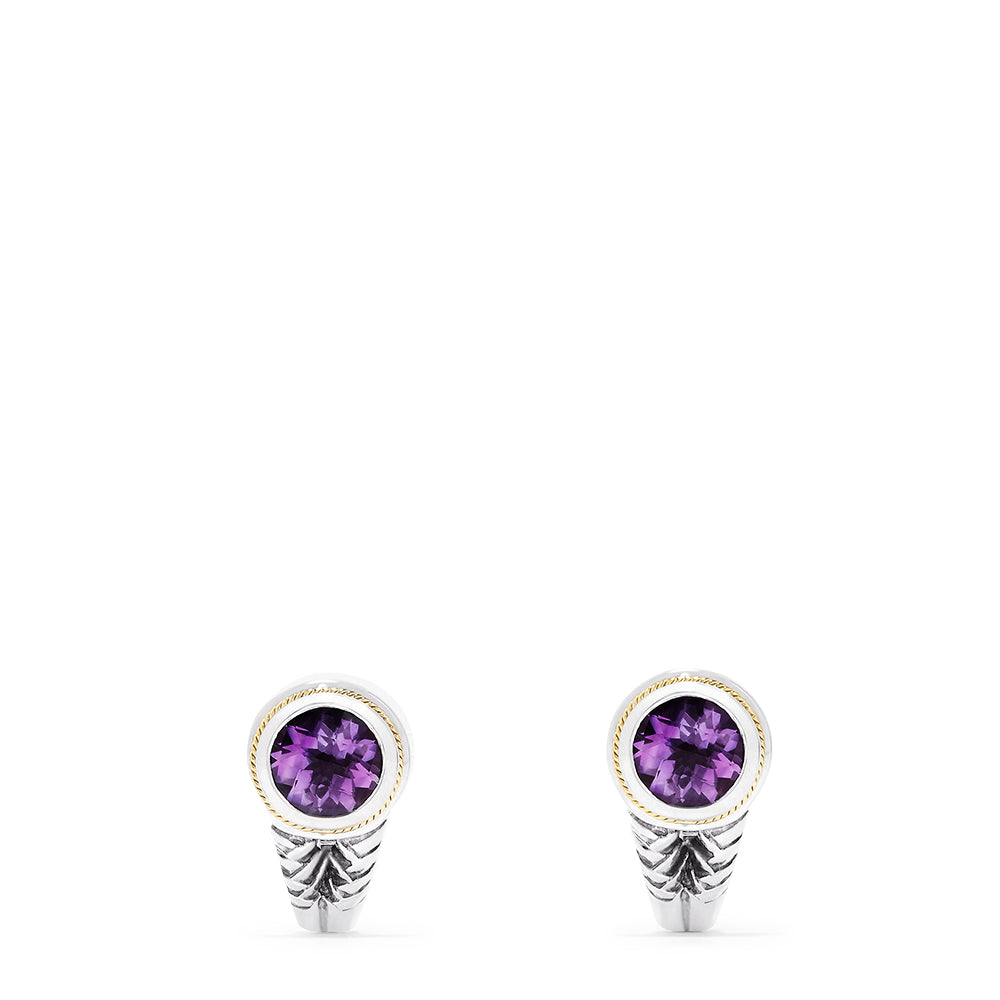 Effy 925 Sterling Silver & 18K Yellow Gold Amethyst Earrings, 3.33 TCW