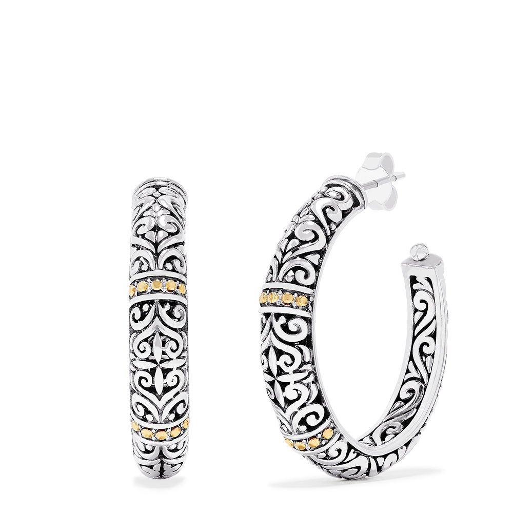 Effy 925 Sterling Silver and 18K Yellow Gold Accented Hoop Earrings