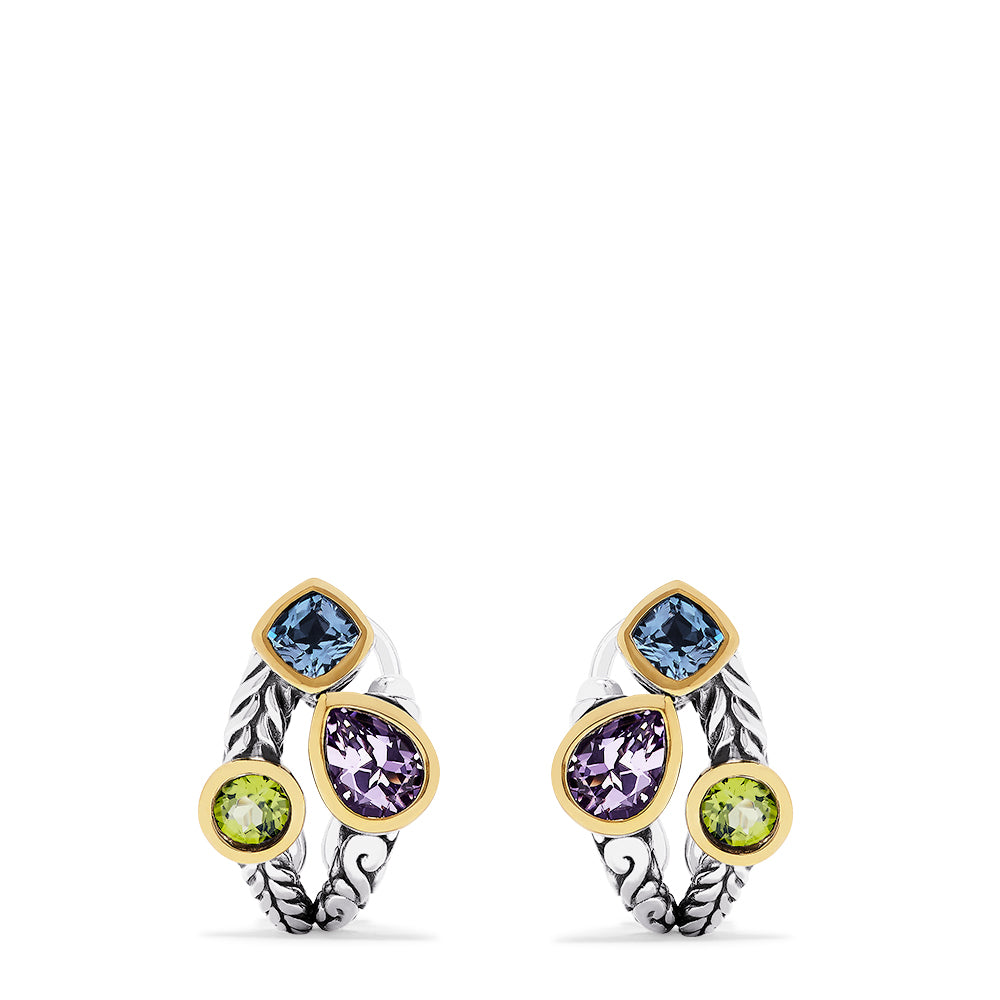 Effy 925 Sterling Silver & 18K Gold Multi Gemstone Earrings, 5.10 TCW