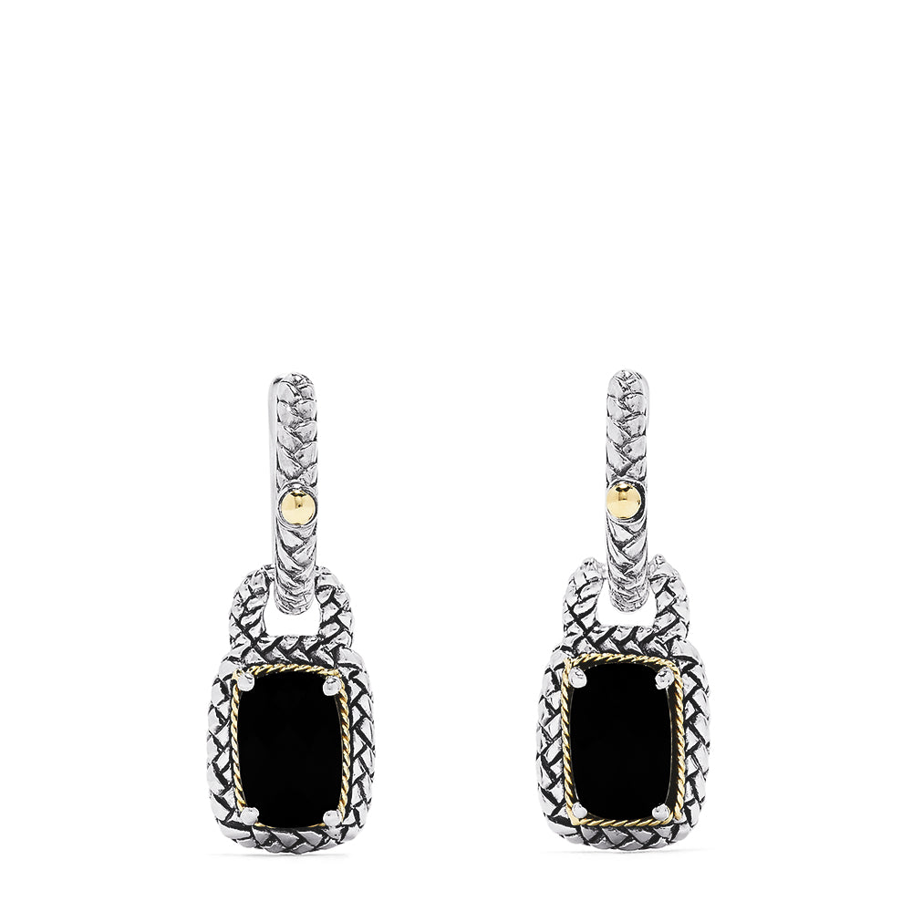 Effy 925 Sterling Silver and 18K Yellow Gold Onyx Drop Earrings, 3.15 TCW
