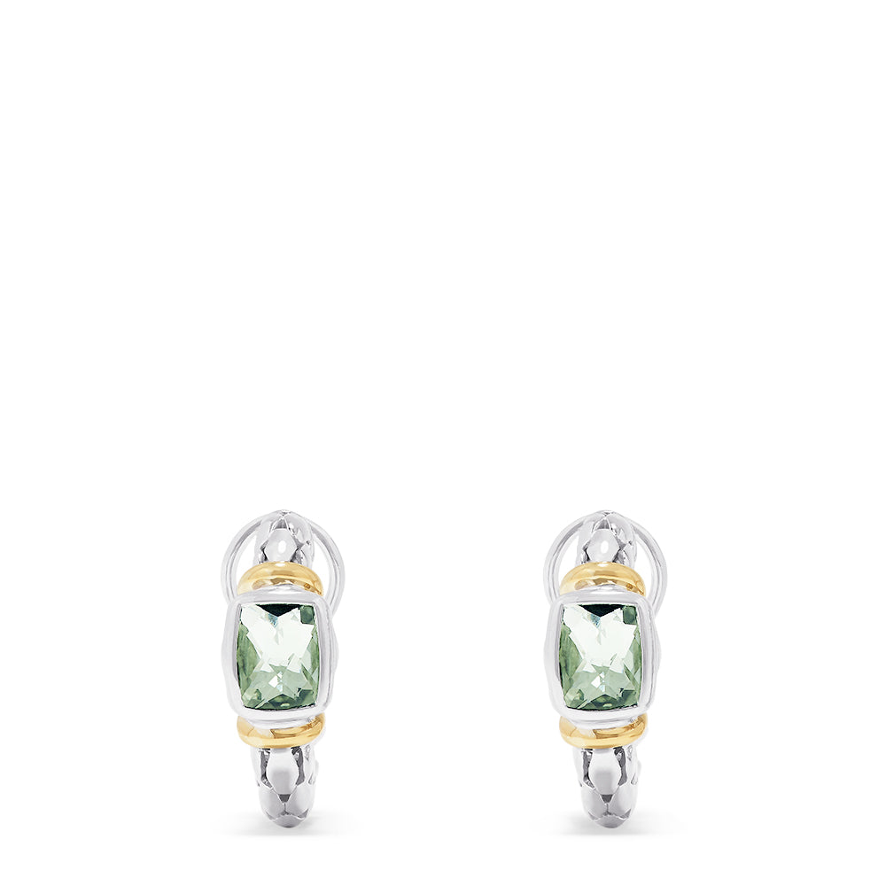 Effy 925 Sterling Silver and 18K Gold Green Amethyst Earrings, 3.50 TCW