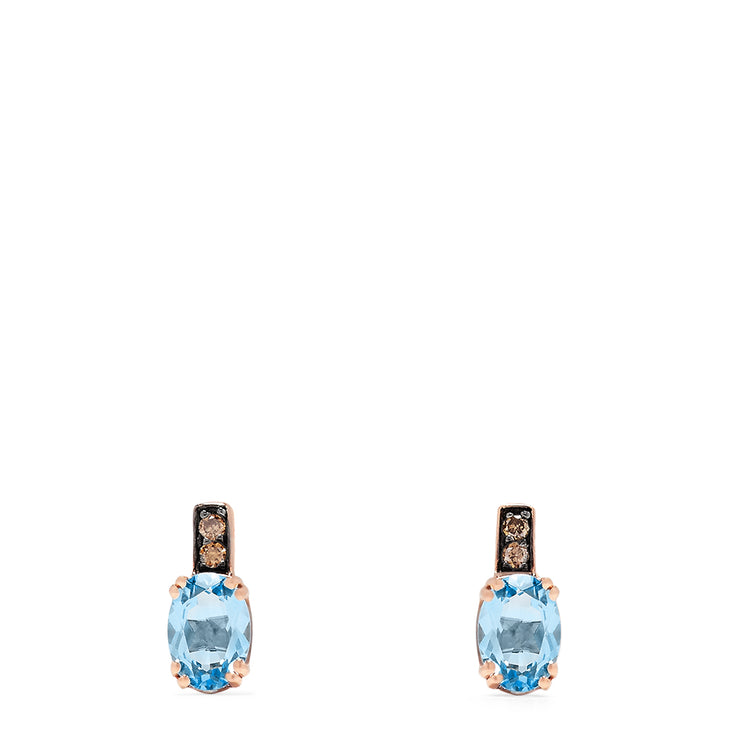 Effy 14K Rose Gold Blue Topaz and Espresso Diamond Earrings, 1.96 TCW