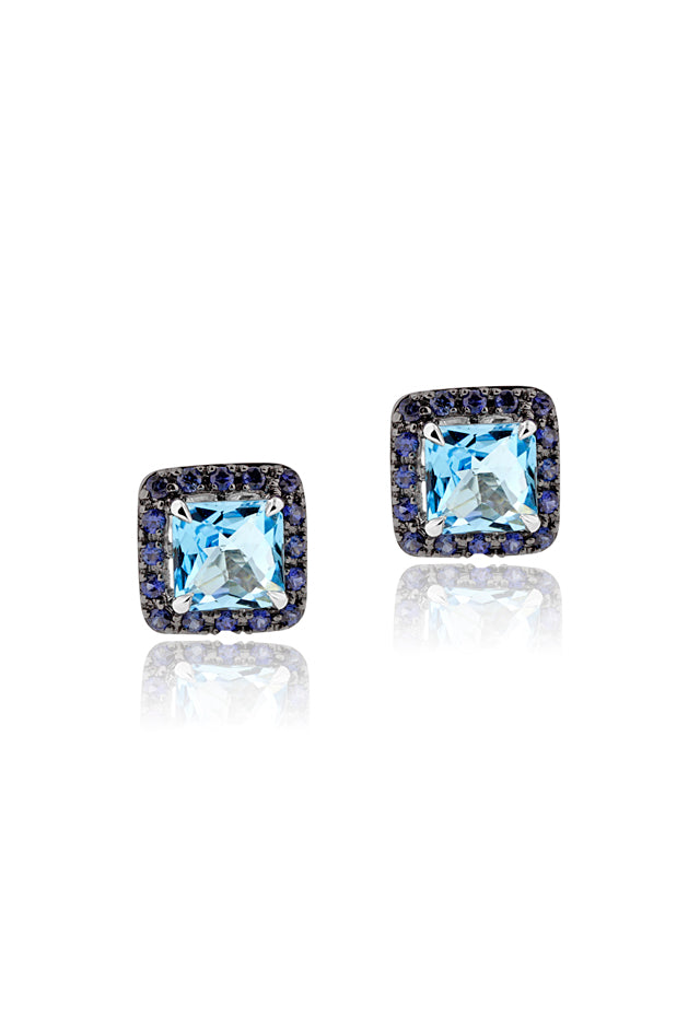 Effy 14K White Gold Blue Topaz and Sapphire Earrings, 5.32 TCW