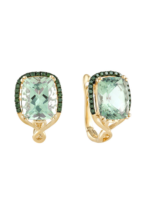 Effy 14K Yellow Gold Green Amethyst and Diamond Earrings, 5.80 TCW