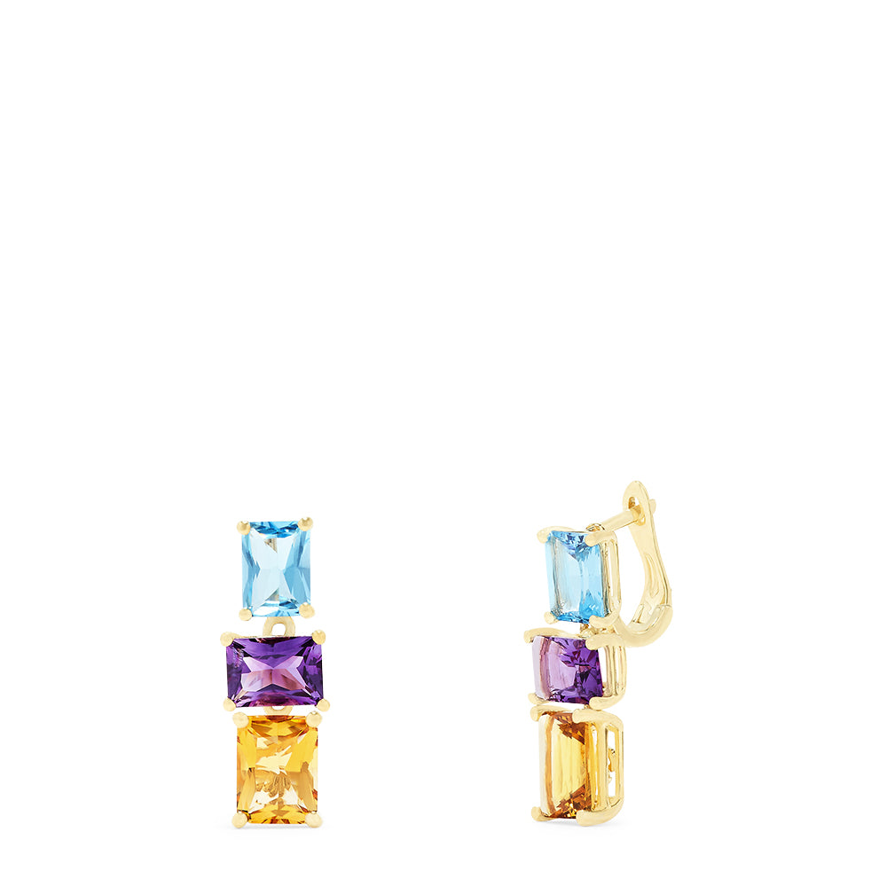 Effy 14K Yellow Gold Multi Gemstone Mosaic Earrings, 6.84 TCW