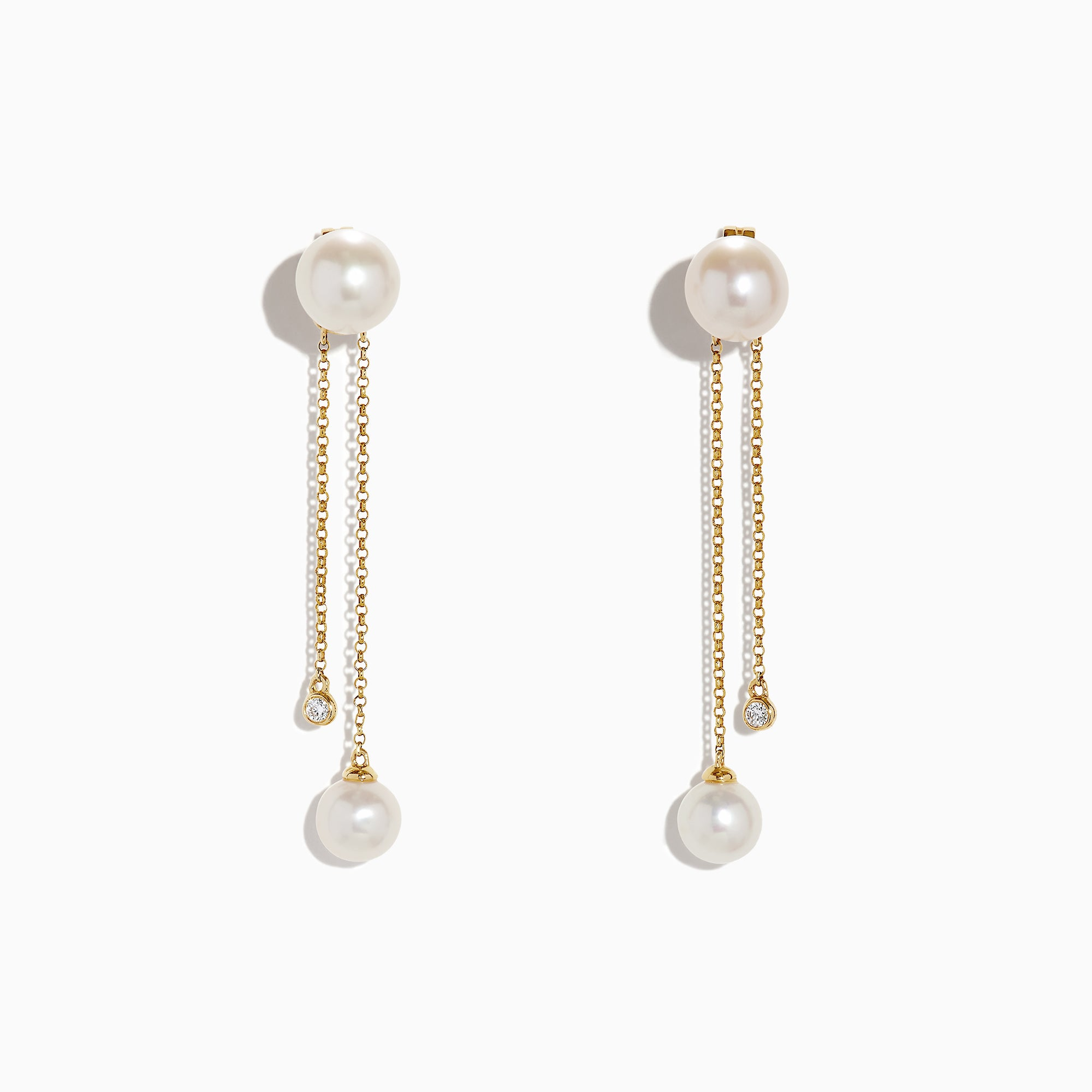 Effy 14K Yellow Gold Diamond and Fresh Water Pearl Drop Earrings, 0.05 TCW