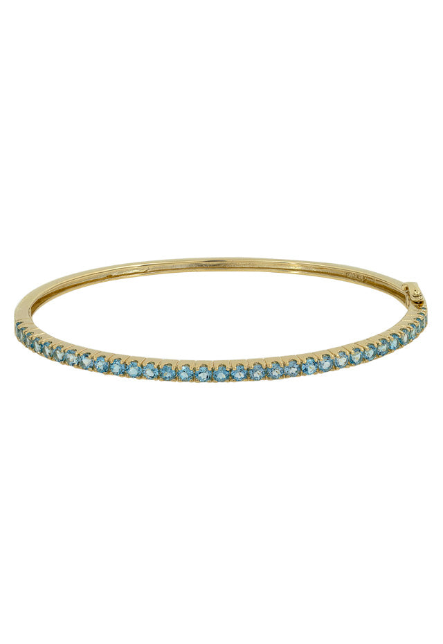 14K Yellow Gold Blue Topaz Bangle, 3.04 TCW