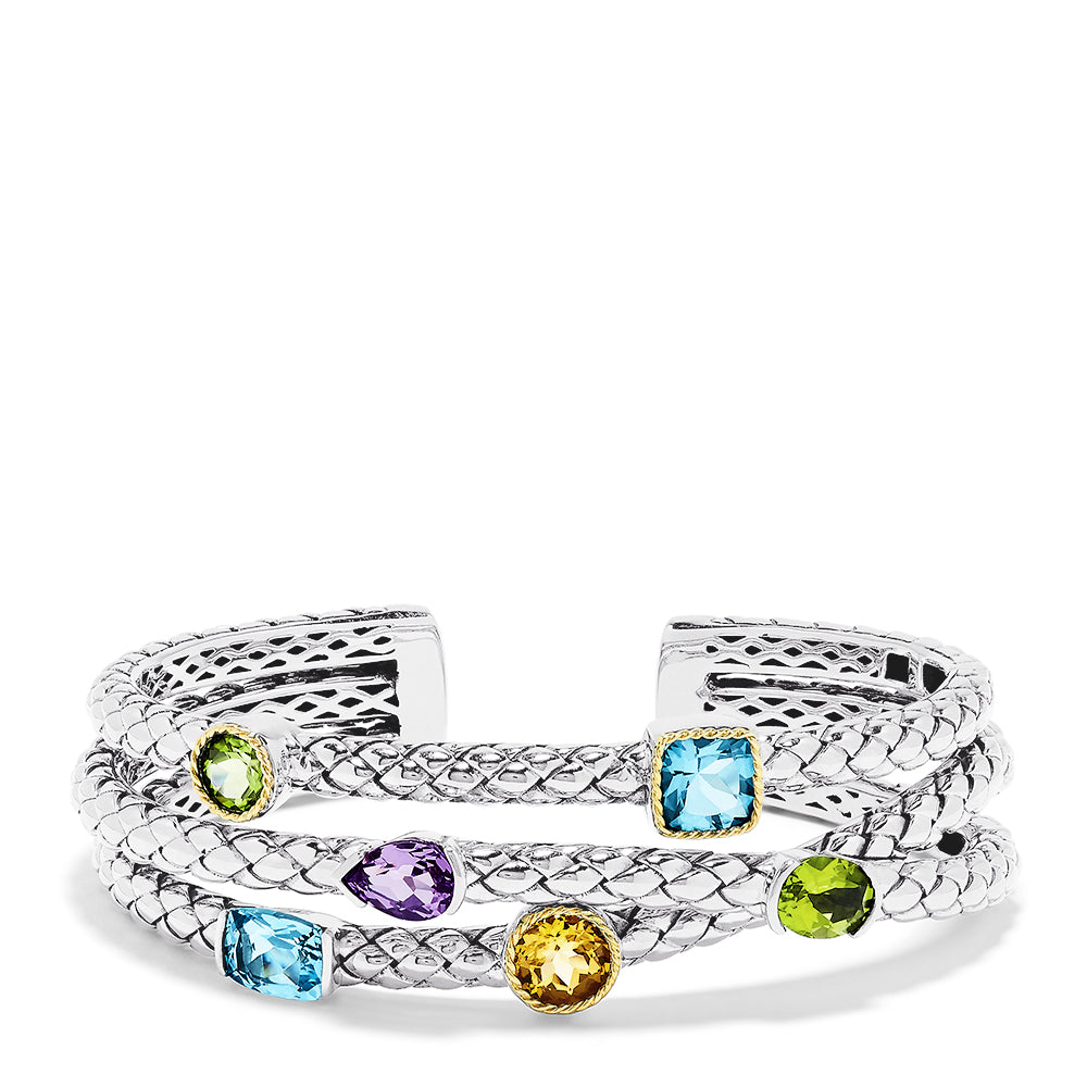 Effy 925 Sterling Silver & 18K Yellow Gold Multi Gemstone Cuff, 9.00 TCW