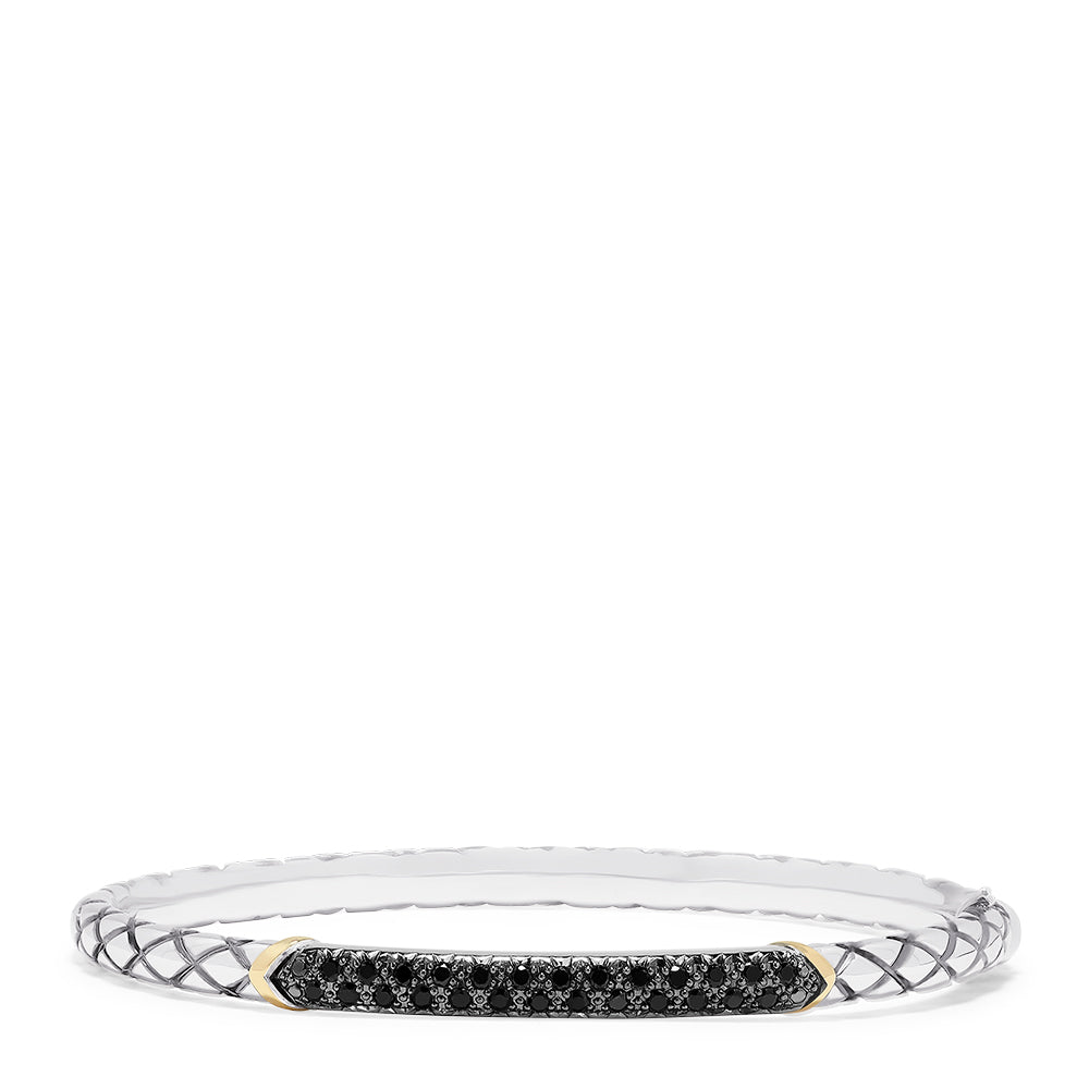 Effy 925 Sterling Silver & 18K Gold Accented Black Diamond Bangle, 0.45 TCW