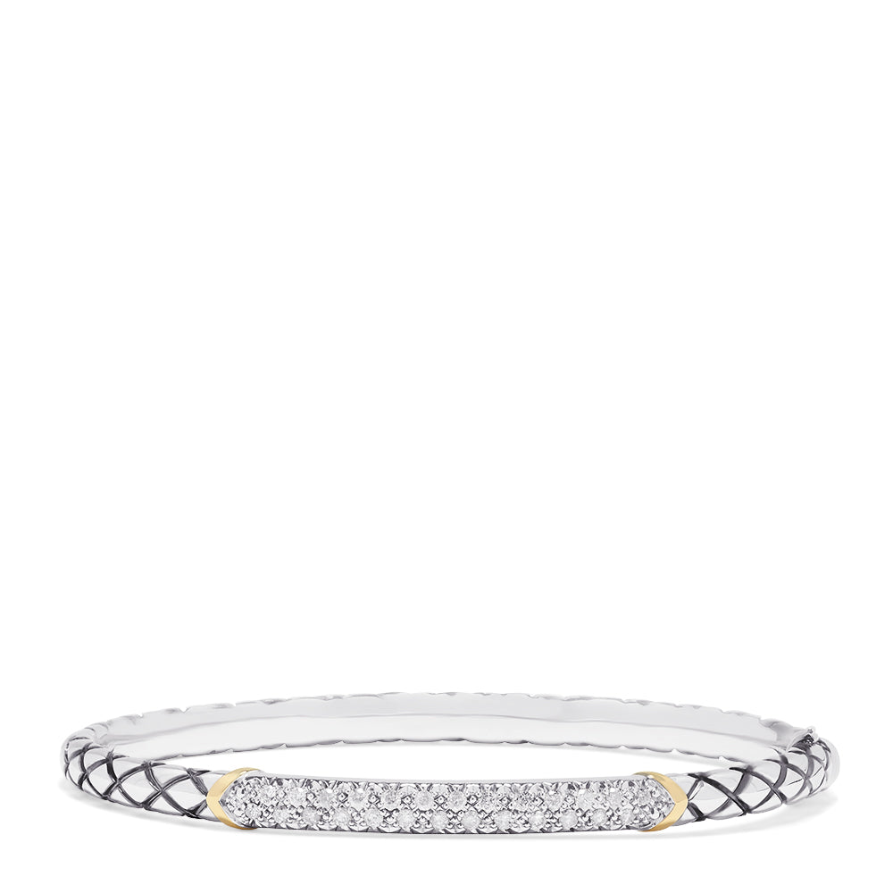 Effy 925 Sterling Silver & 18K Gold Accented Diamond Bangle, 0.45 TCW