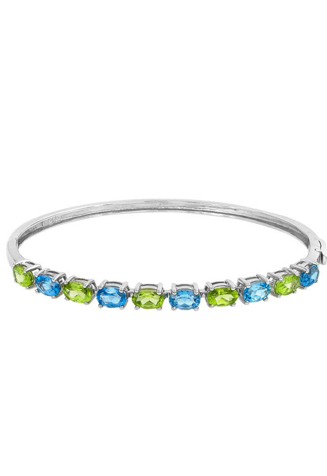 14K White Gold Blue Topaz and Peridot Bangle, 5.50 TCW