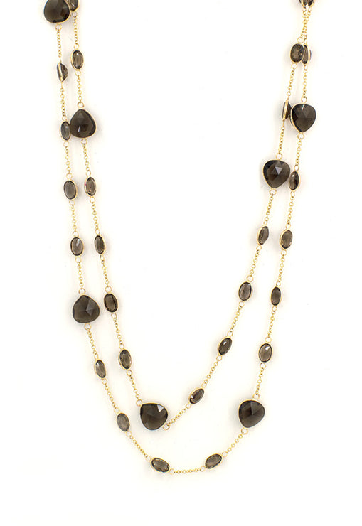 "14K Yellow Gold Smokey Quartz 40"" Necklace, 59.48 TCW"