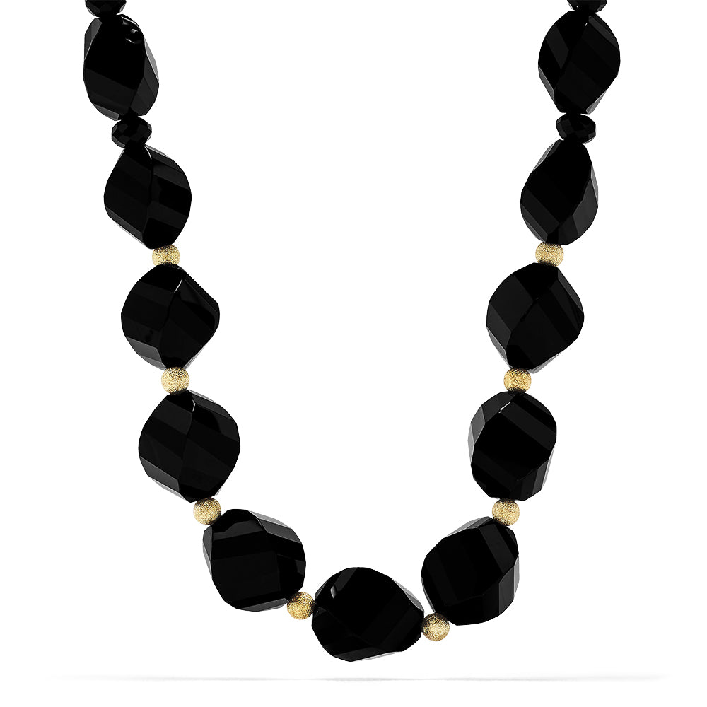 Effy Eclipse 14K Yellow Gold Onyx Beaded Necklace