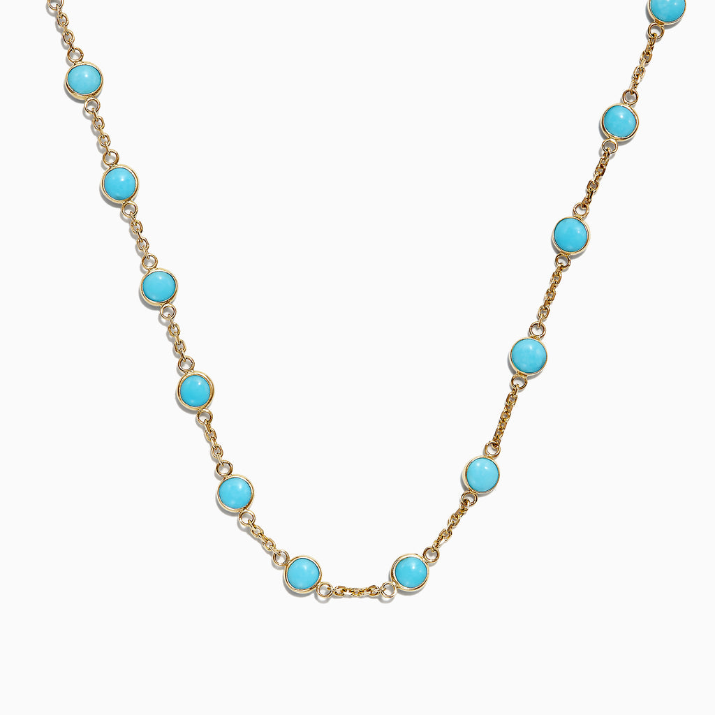 Effy 14K Yellow Gold Turquoise Necklace, 7.75 TCW