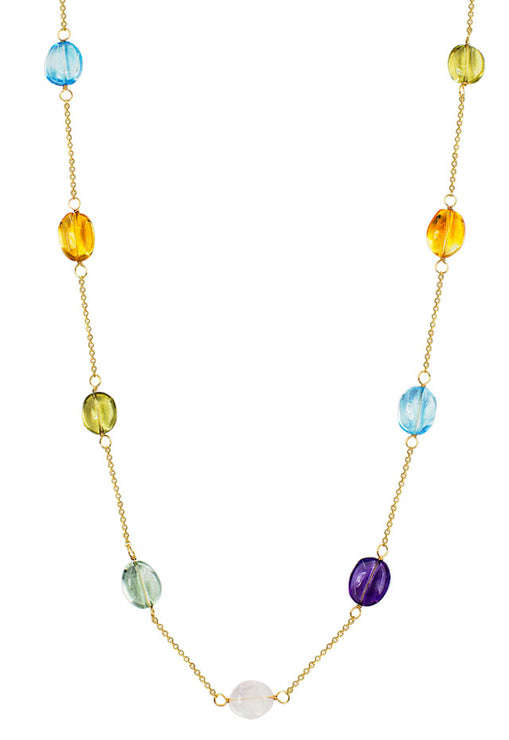 "14K Yellow Gold 22"" Multi Gemstone Necklace"