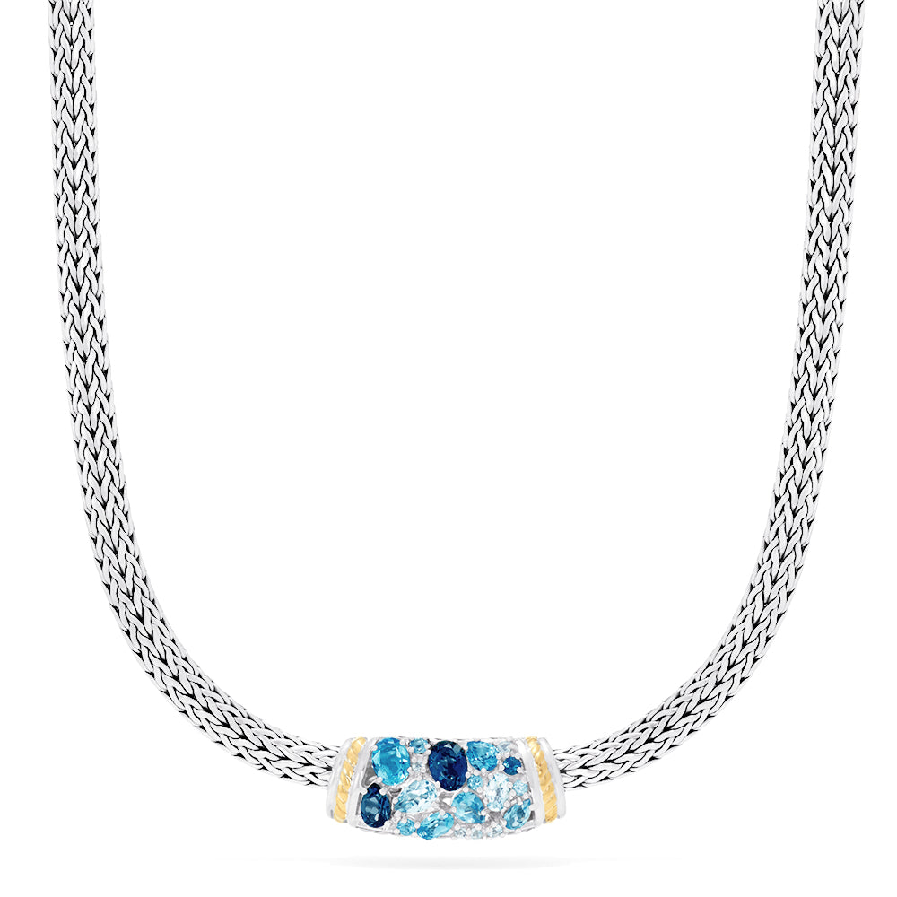 Effy 925 Sterling Silver & 18K Gold Blue Topaz Splash Necklace, 6.70 TCW