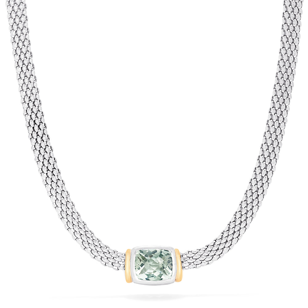 Effy 925 Sterling Silver and 18K Gold Green Amethyst Necklace, 4.70 TCW
