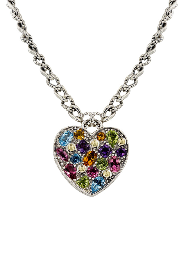 Effy 925 Sterling Silver & Gold Multi Gemstone Heart Pendant