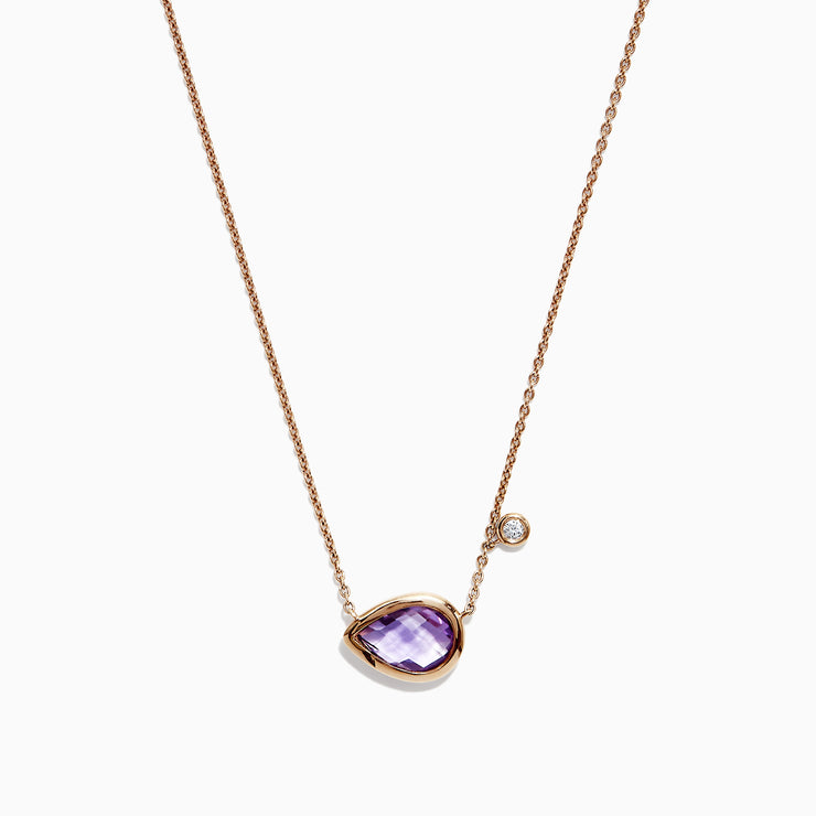 Effy 14K Rose Gold Amethyst and Diamond Necklace, 1.44 TCW