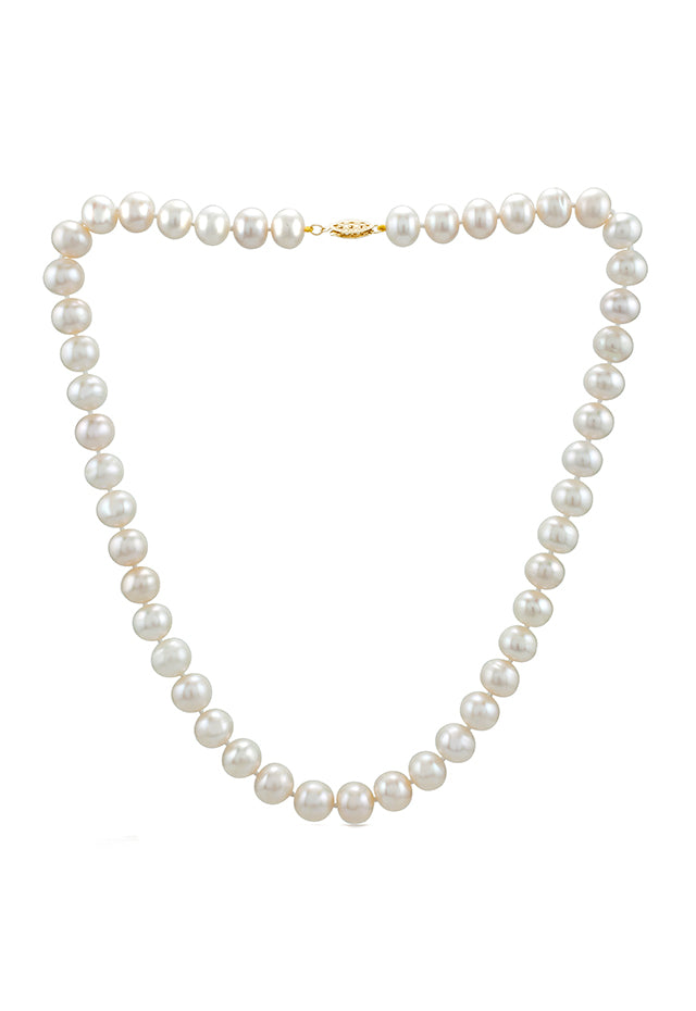 Effy Cultured Fresh Water Pearl Necklace with 14K Yellow Gold Fish Lock
