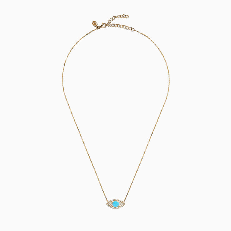 Effy Novelty 14K Gold Turquoise & Diamond Evil Eye Necklace, 1.14 TCW