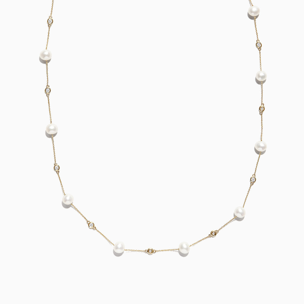 Effy 14K Yellow Gold Diamond and Fresh Water Pearl Necklace, 0.34 TCW