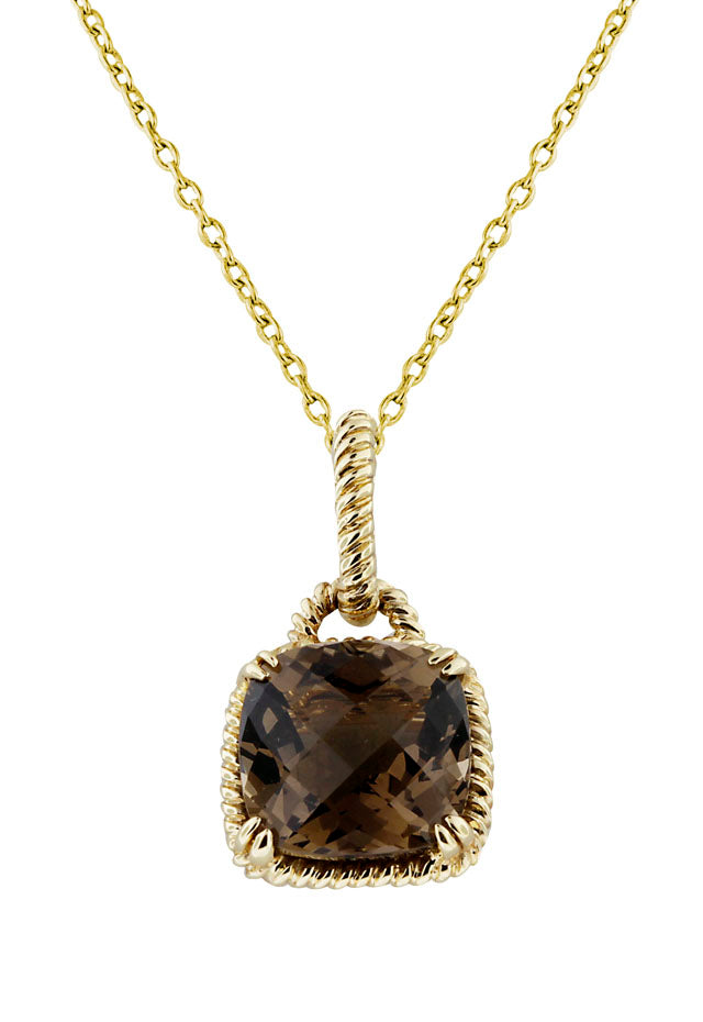 14K Yellow Gold Smokey Quartz Pendant, 4.30 TCW