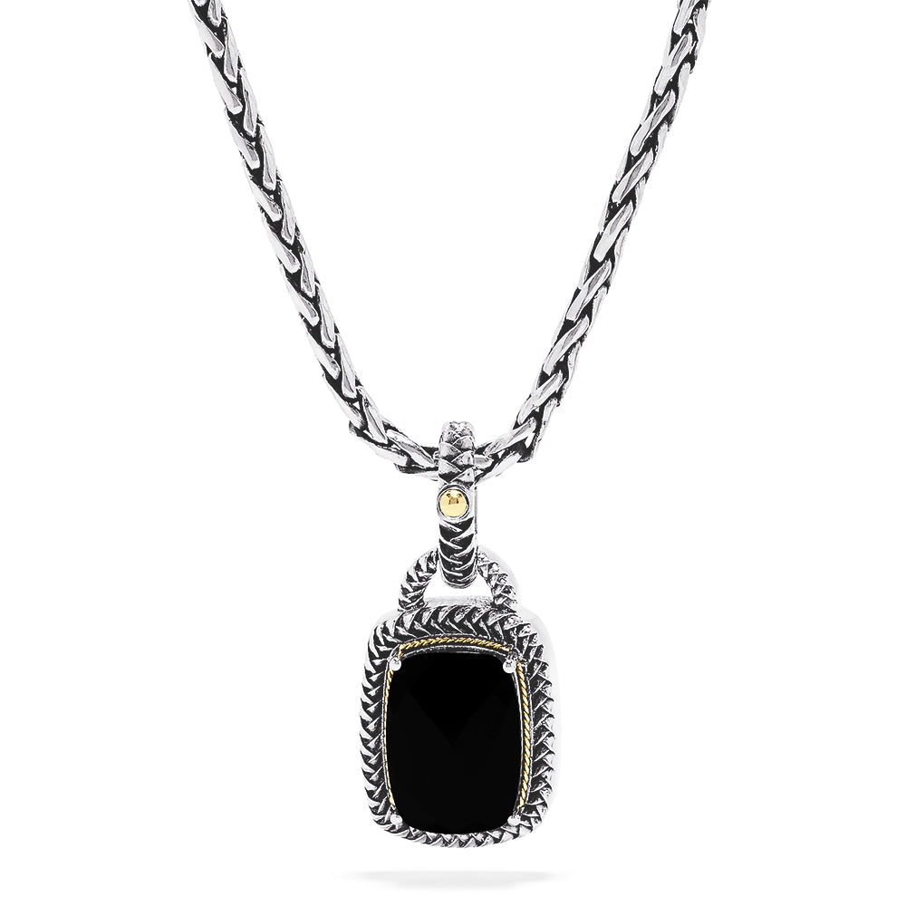 Effy 925 Sterling Silver and 18K Yellow Gold Onyx Pendant, 6.46 TCW