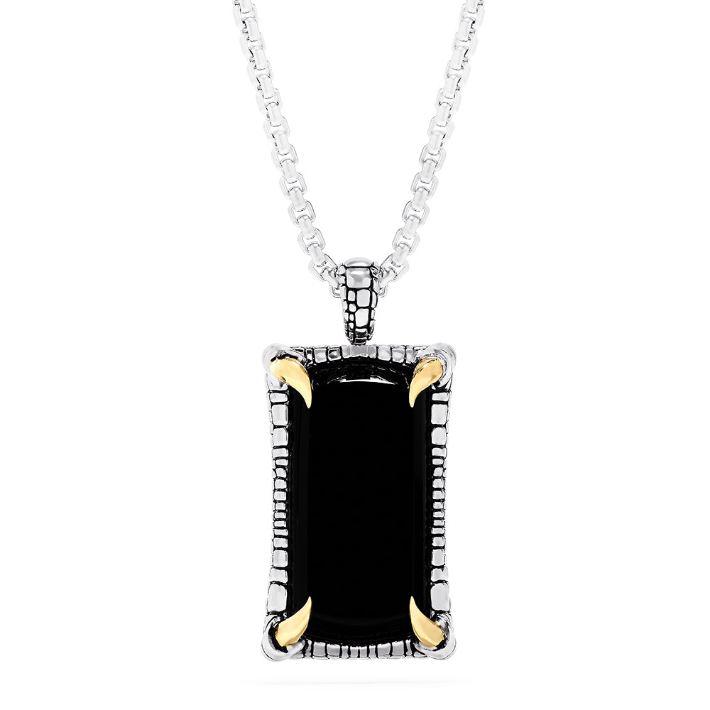 Effy Men's Sterling Silver and 18K Yellow Gold Onyx Pendant, 21.40 TCW