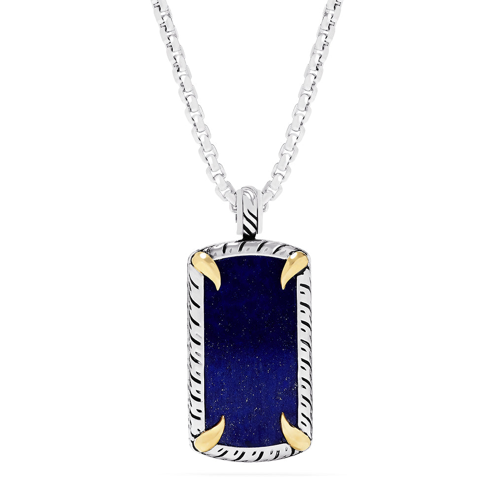 Effy Men's Sterling Silver and 18K Gold Lapis Lazuli Pendant, 21.40 TCW