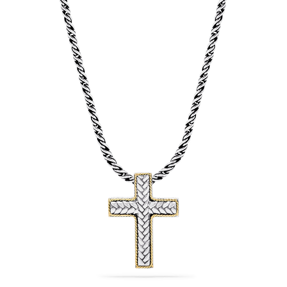 Effy 925 Sterling Silver & 18K Yellow Gold Accented Cross Pendant