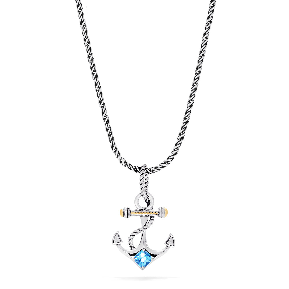 Effy Seaside Sterling Silver & 18K Gold Blue Topaz Anchor Pendant, 0.80 TCW