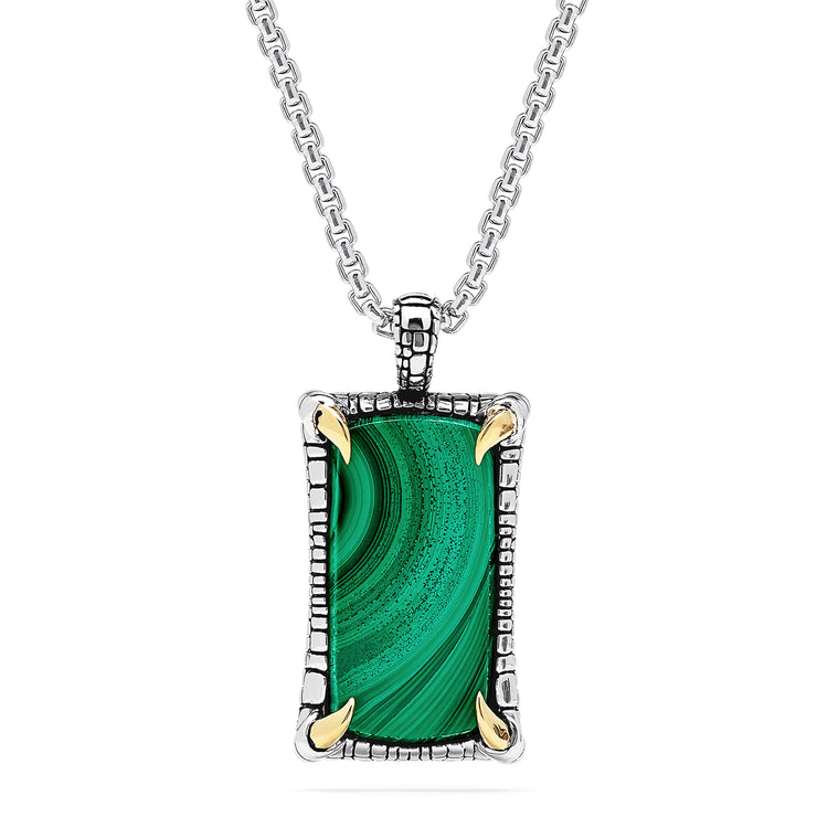 Effy Men's Sterling Silver and 14K Gold Malachite Claw Pendant, 21.40 TCW