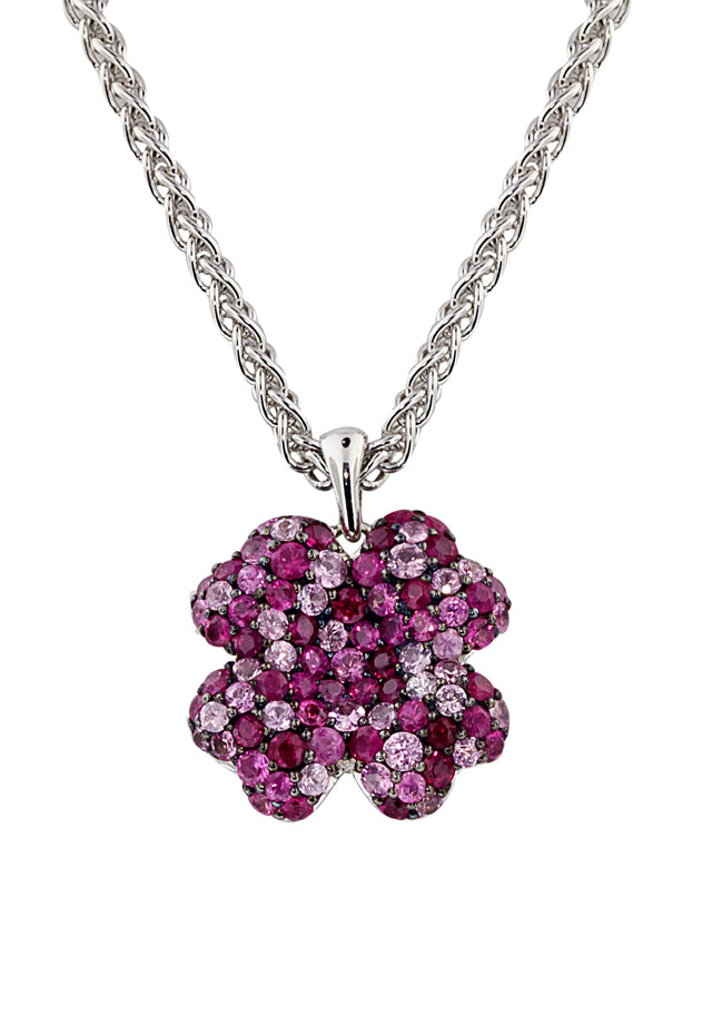 Balissima Ruby & Pink Sapphire Flower Pendant, 2.98 TCW