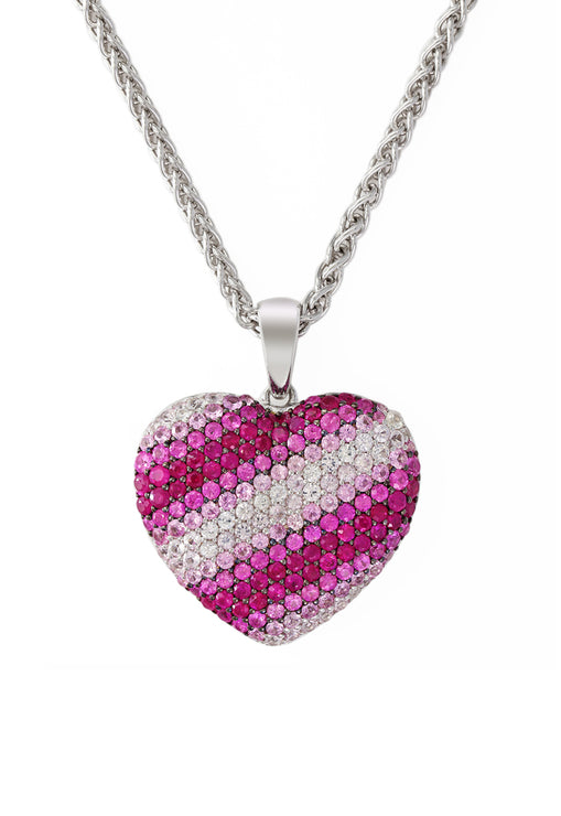 Balissima Sterling Silver Shades of Pink Sapphire Heart Pendant, 3.74 TCW