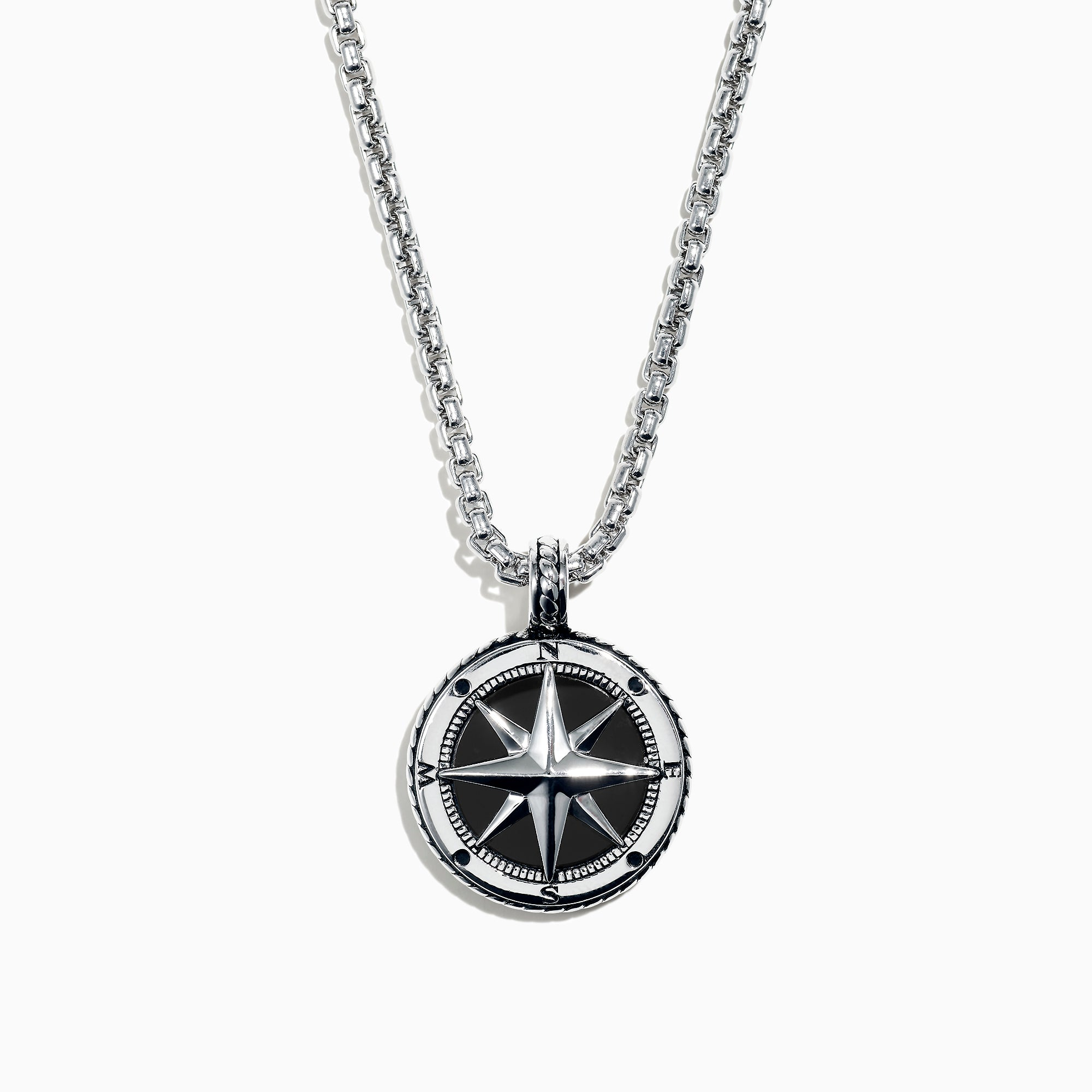 Effy Men's Sterling Silver Onyx Compass Pendant, 4.00 TCW