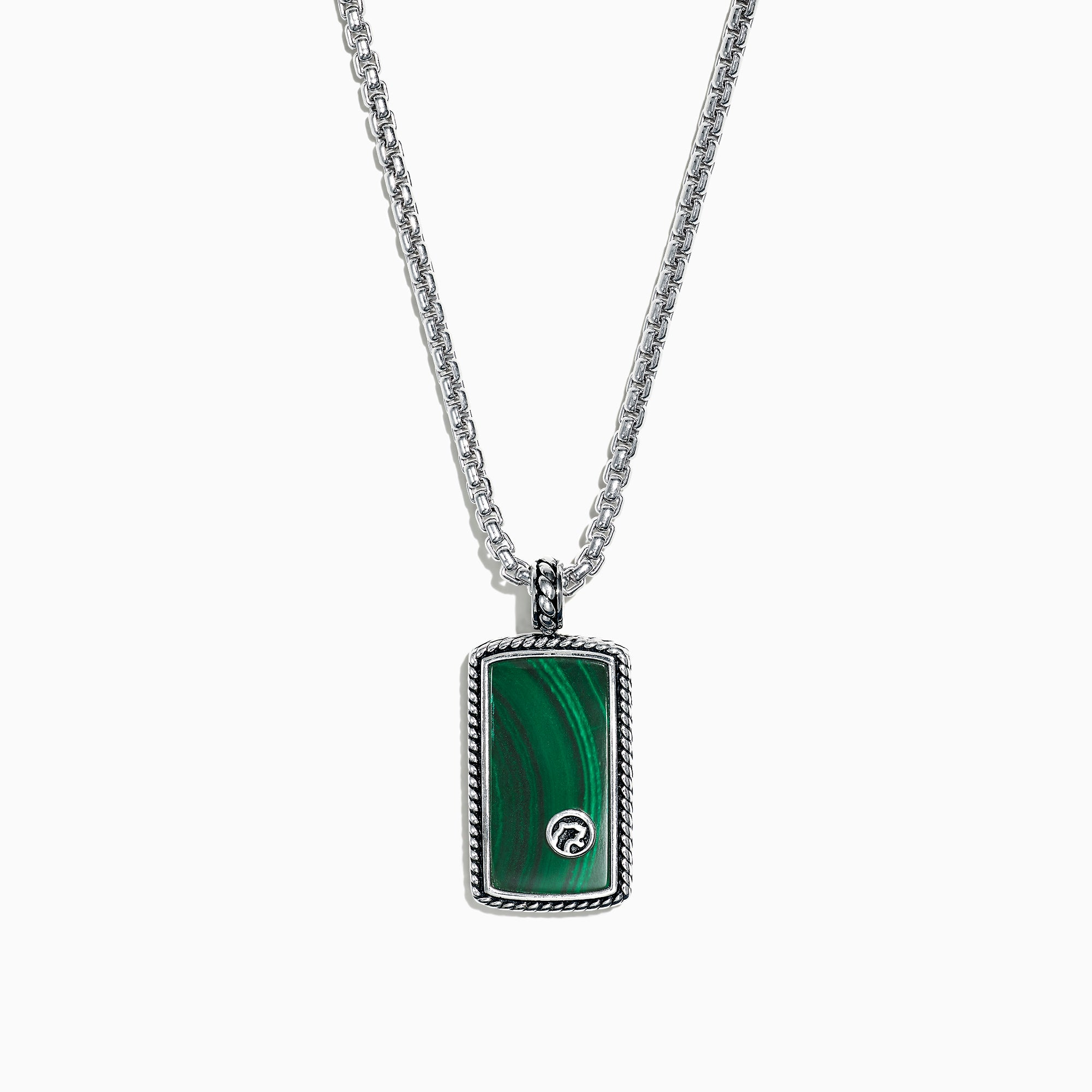 Effy Men's Sterling Silver Malachite Dog Tag Pendant, 9.30 TCW