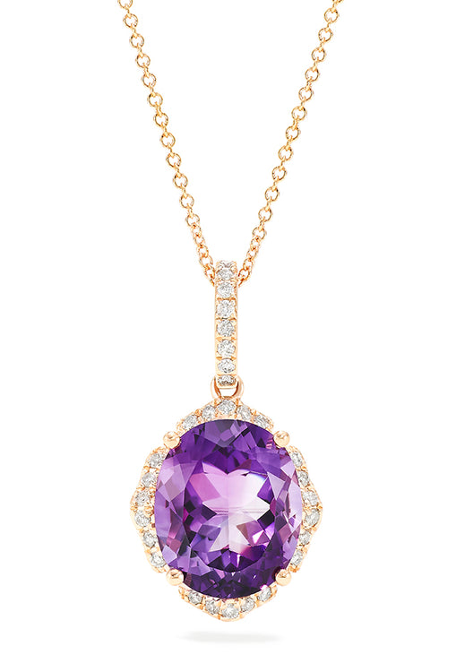 Effy 14K Rose Gold Amethyst and Diamond Pendant, 4.67 TCW