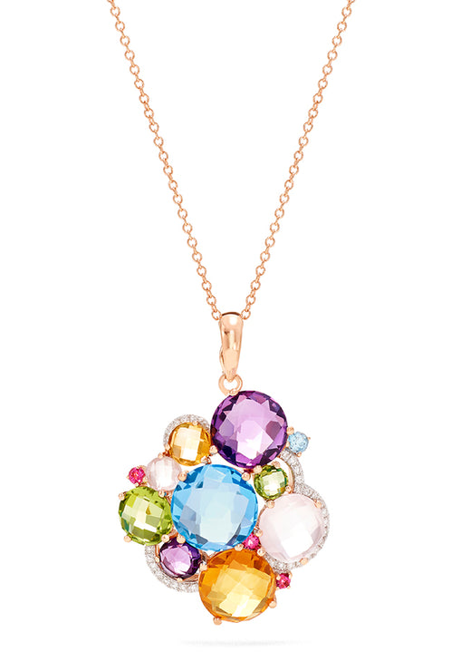Effy 14K Rose Gold Multi Gemstone and Diamond Pendant, 12.14 TCW