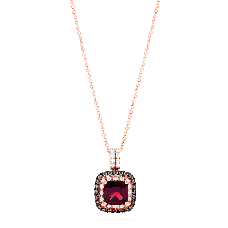 Effy 14K Rose Gold Rhodolite Garnet and Diamond Pendant, 3.23 TCW