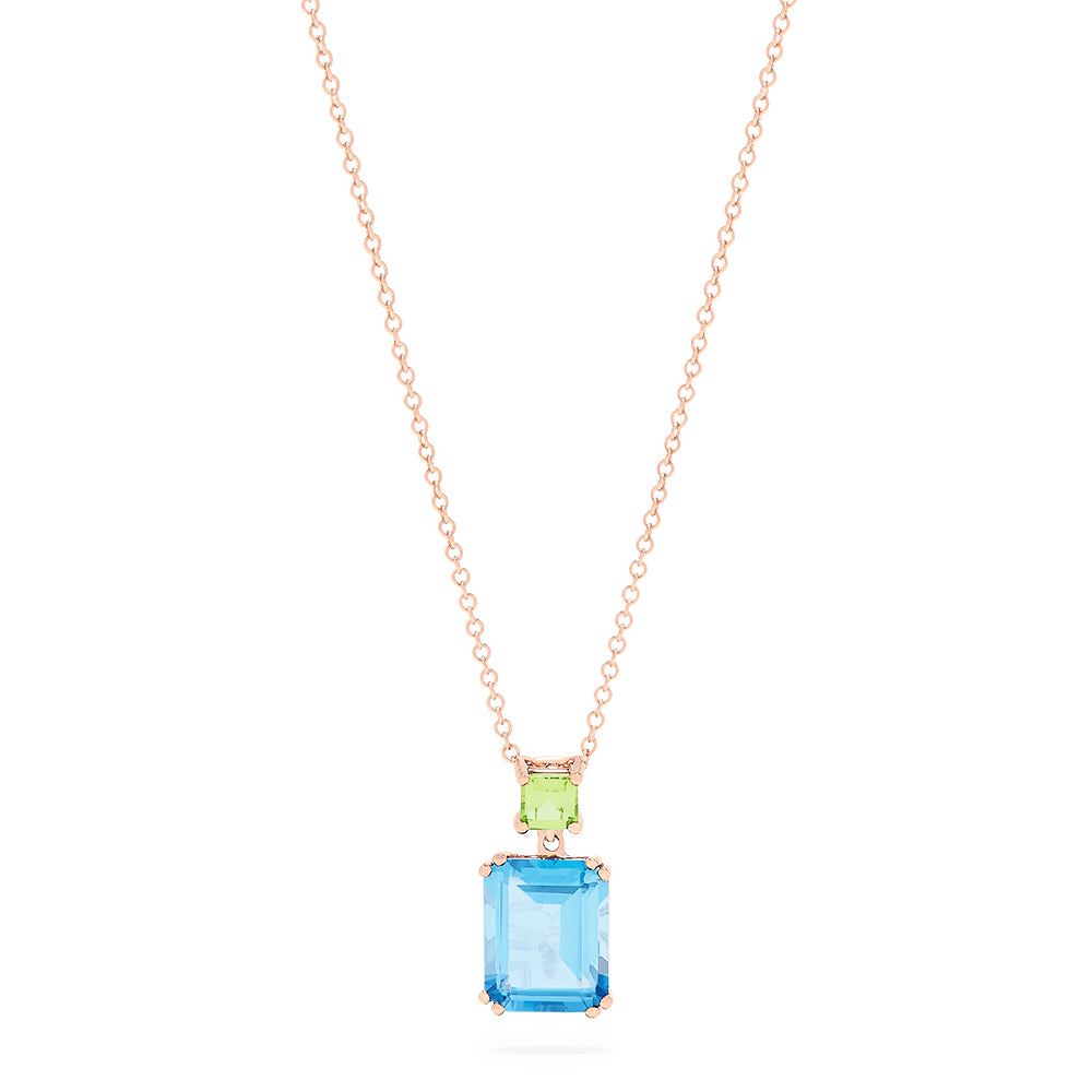 Effy 14K Rose Gold Blue Topaz and Peridot Pendant, 4.55 TCW