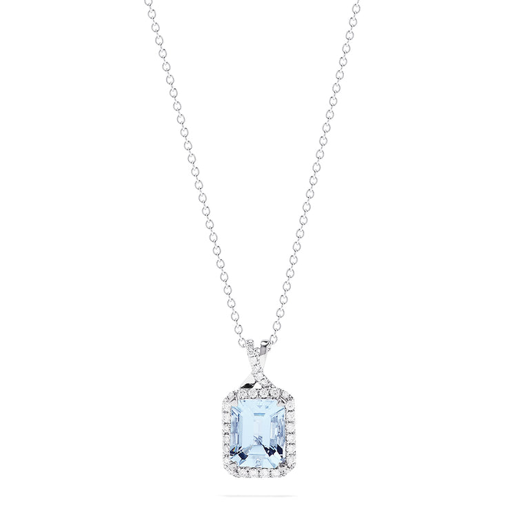 Effy 14K White Gold Aquamarine and Diamond Pendant, 2.45 TCW