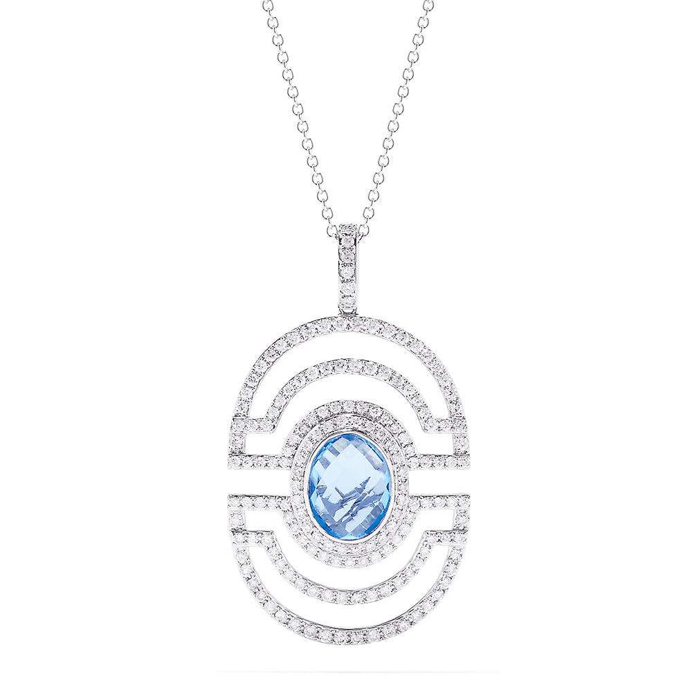 Effy Ocean Bleu 14K White Gold Blue Topaz and Diamond Pendant, 3.86 TCW
